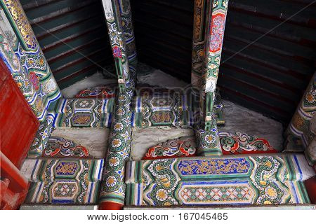Colorful Paintings on the beam in the Shenyang Imperial Palace Mukden Palace, Shenyang, Liaoning Province, China. Shenyang Imperial Palace UNESCO world heritage site built in 400 years ago.