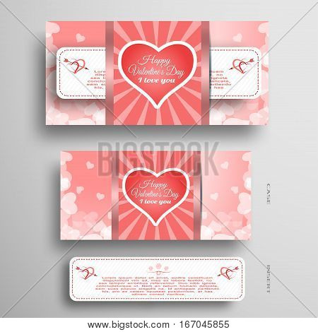 Vector set of light red greeting card for Valentine's Day with insert paper stripe.