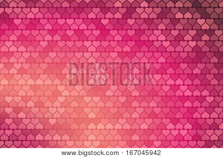 Vector Happy Valentine's Day gradient light red and dark pink background with heart silhouettes different shades.