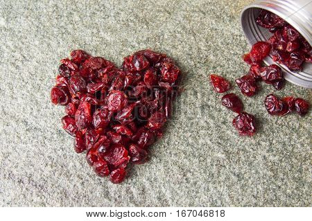 Heart Shape Made Of Dry Cranberry Fruits