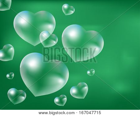 Realistic soap bubbles Heart-shaped. Drops of water in a heart shape. Valentines day, love, romance concept. Vector illustration