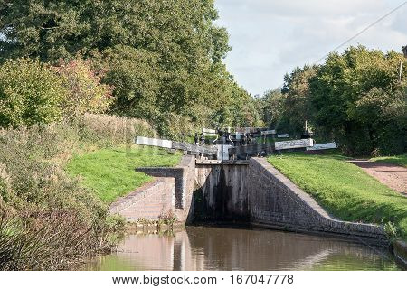 Pair of the Tardebigge canal Locks  on the Worcester to Birmingham Canal