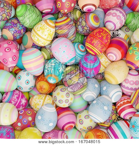 Many colorful easter eggs for easter for background (3D Rendering)