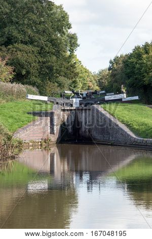 Two of the Tardebigge Canal Locks on the Worcester to Birmingham Canal