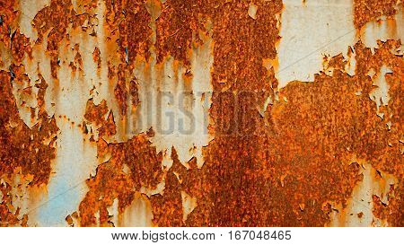 Old rusty metal sheet abstract background, rust on painted weathered steel sheet, vintage color.