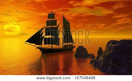 3d rendering of sailing boat at the sun set