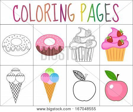 Coloring book page set. Sweets collection. Sketch and color version. Coloring for kids. Childrens education. Vector illustration