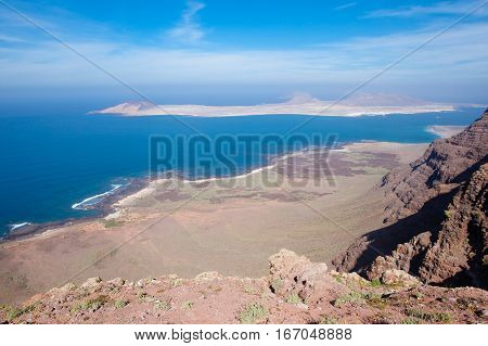 View of Graciosa Island from el Mirador del Rio view point Lanzarote Island Canary Islands