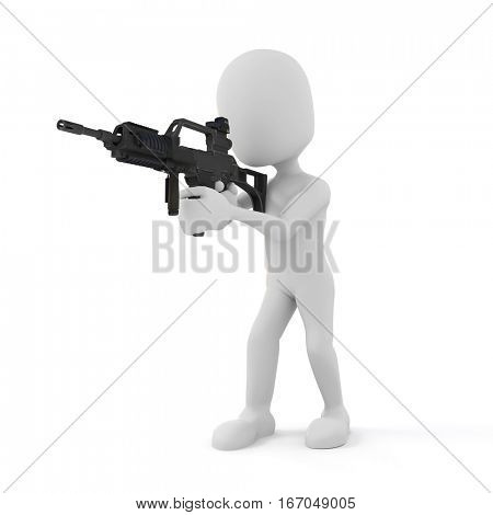 3d man soldier with rifle on white background