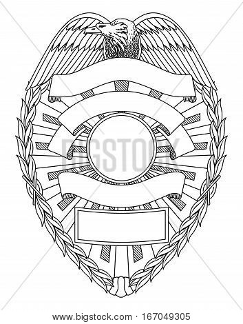 Police Badge Blank is an illustration of a police or law enforcement badge with open space for your specific text such as location, badge number, etc.