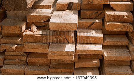Stack of wood planks of high quality as background warm retro color