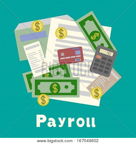 Invoice sheet, paysheet or payroll icon. Calculating and budget account. flat vector illustration