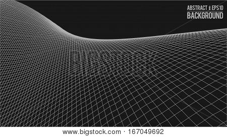 Wavy linear monochrome procedural terrain. Striped digital extraterrestrial landscape. Trendy wireframe cybernetic mountains. Modern illustration for a background. Element of design.
