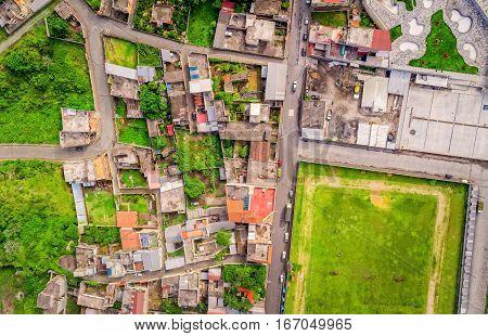 Aerial Shot Of Small City In The Andean Highlands Banos De Agua Santa Tungurahua Province South America