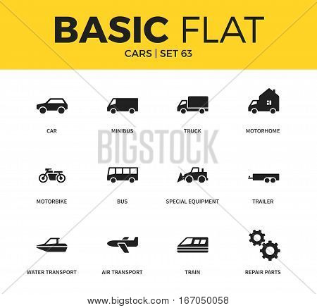 Basic set of minibus form, trailer form and water transport icons. Modern flat pictogram collection. Vector material design concept, web symbols and logo concept.