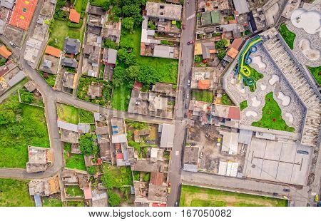 Top Urban View Of Lots Of Houses In Banos De Agua Santa Tungurahua Province South America