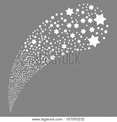 Six Pointed Star random source stream. Vector illustration style is flat white iconic symbols on a gray background. Object fountain created from icons.
