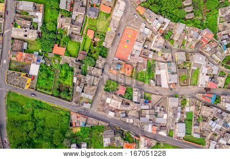 Aerial View With Streets In Banos De Agua Santa Tungurahua Province South America