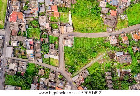 Aerial View Of City Neighborhood Banos De Agua Santa Tungurahua Province South America