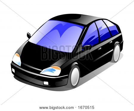 2d illustration of a spacious 5-door family car poster