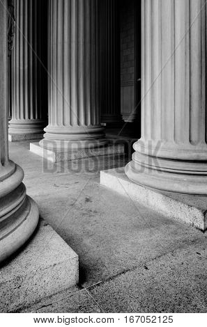 Columns on museum or courthouse building