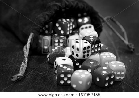 Closeup of pile of dice for gaming gambling and playing games of chance