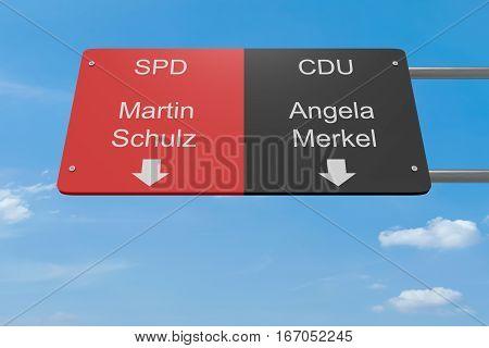 BERLIN GERMANY - JANUARY 28 2017: German Election 2017 Politics Concept: Road Sign Schulz (SPD) or Merkel (CDU) 3d illustration