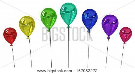 Color party balloons group inflated 3d illustration horizontal