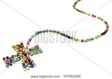 Gift large group 3d illustration spot cross mark shape over white isolated