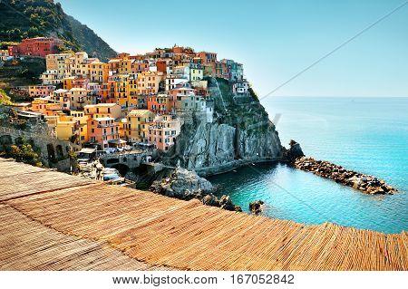 Village Of Manarola On The Cinque Terre Coast Of Italy