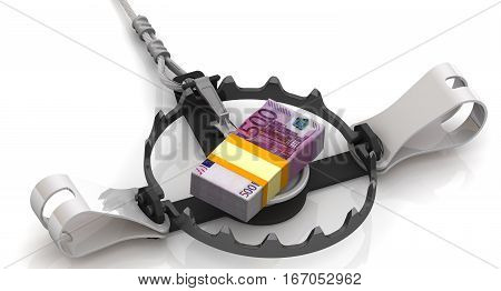Money as a dangerous lure. Stack of packs of 500 euro banknotes tied with a ribbon as bait in trap on a white surface. Isolated. 3D Illustration