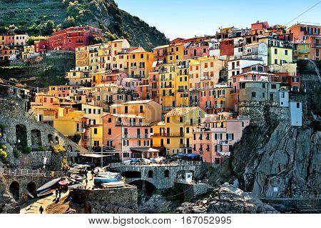 Colorfull houses of manarola cinque terre in italy