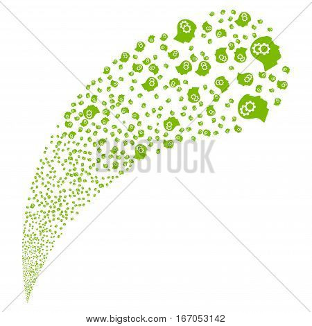 Intellect Gears random source stream. Vector illustration style is flat eco green iconic symbols on a white background. Object fountain created from pictographs.