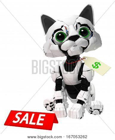 Robotic kitten with sale sign 3d illustration vertical isolated