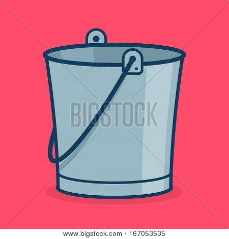 Metal bucket icon sign or symbol for app. Tub for garden. Isolated on hot pink. Vector illustration