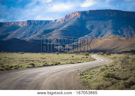 Landscape of: Traveling by motorhome in Karoo National Park - South Africa