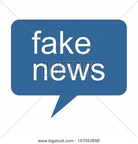 Social Media Concept: Blue Fake News Speech Balloon illustration on white background