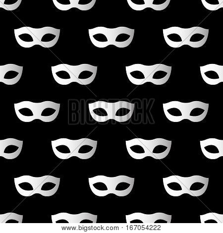 Mardi Gras seamless pattern with carnival masks. Mardi Gras endless background texture wrapper. Vector illustration EPS10.