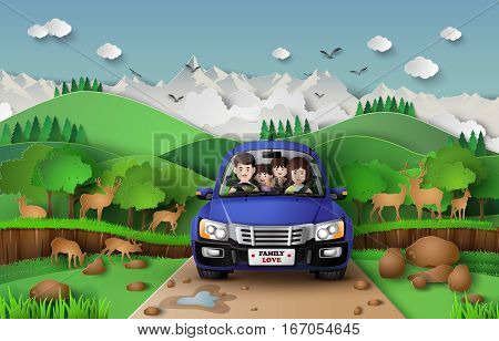 Funny family driving in car on weekend holiday.paper art style.