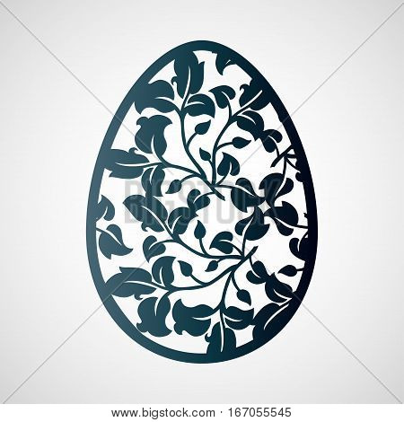 Openwork Easter egg with leaves. Laser cutting template for decorations cards interior decorative elements.