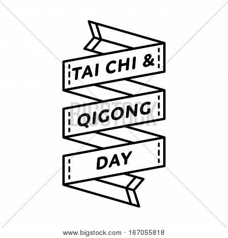 Tai Chi and Qigong day emblem isolated vector illustration on white background. 29 april world healthcare holiday event label, greeting card decoration graphic element