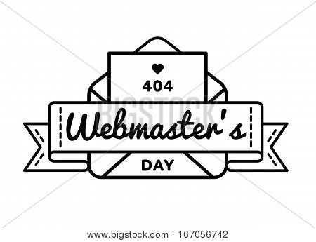 World Webmasters day emblem isolated vector illustration on white background. 4 april world professional holiday event label, greeting card decoration graphic element