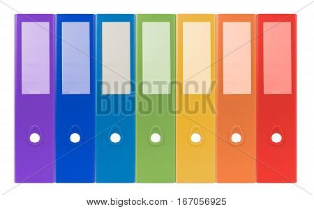 Colorful Ring Binders-full With Office Document And Business Information