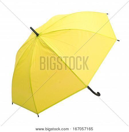 yellow umbrella isolated against white background .