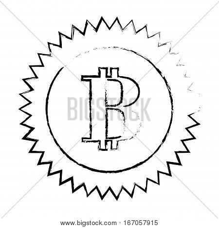 bitcoin currency digital symbol, logotype of cash, vector illustration