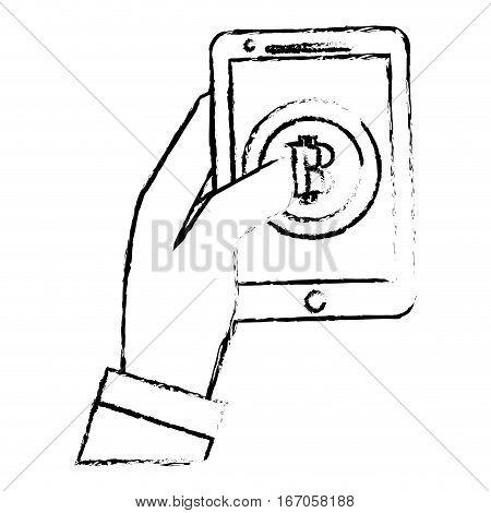 bitcoin icon, digital money symbol, smartphone in the hand