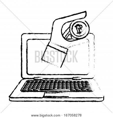 bitcoin icon, digital money symbol, hand in the computer