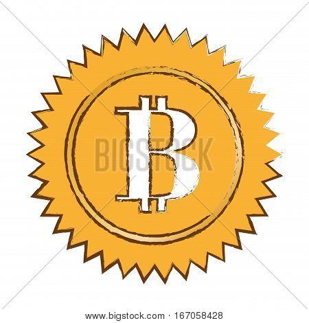 bitcoin currency digital symbol, logotype of money, vector illustration