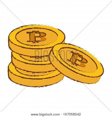 bitcoin image, many golden moneys, vector illustration