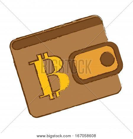 Bitcoin icon, brown bag to save money, vector illustration